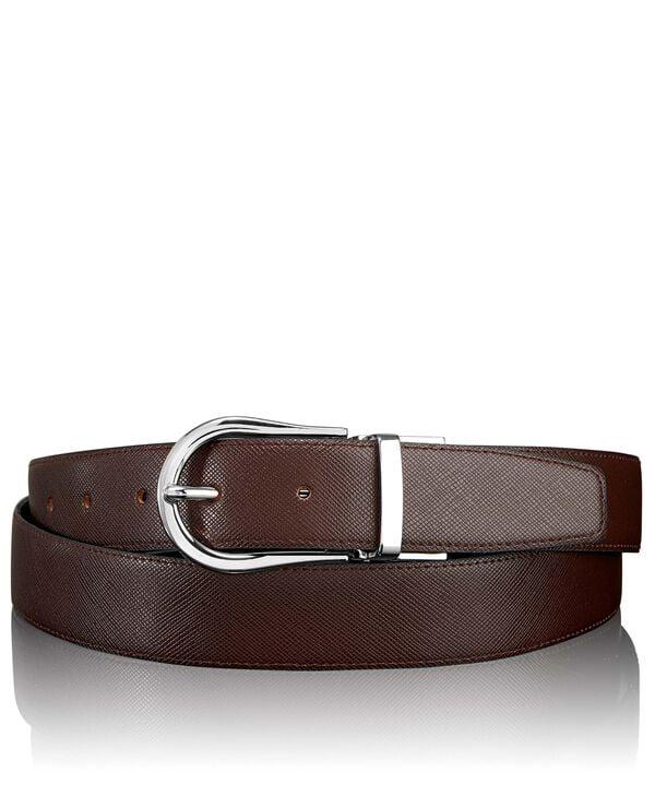 """Belts Cinturón en piel Saffiano reversible con hebilla en herradura 44"""""""